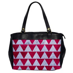 Triangle2 White Marble & Pink Leather Office Handbags