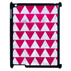 Triangle2 White Marble & Pink Leather Apple Ipad 2 Case (black) by trendistuff