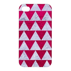 Triangle2 White Marble & Pink Leather Apple Iphone 4/4s Premium Hardshell Case