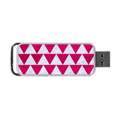 Triangle2 White Marble & Pink Leather Portable Usb Flash (two Sides) by trendistuff