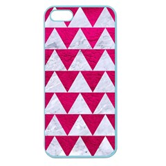 Triangle2 White Marble & Pink Leather Apple Seamless Iphone 5 Case (color)