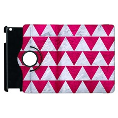 Triangle2 White Marble & Pink Leather Apple Ipad 2 Flip 360 Case