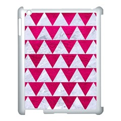 Triangle2 White Marble & Pink Leather Apple Ipad 3/4 Case (white) by trendistuff