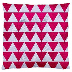 Triangle2 White Marble & Pink Leather Large Flano Cushion Case (two Sides)