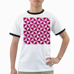 Triangle1 White Marble & Pink Leather Ringer T Shirts