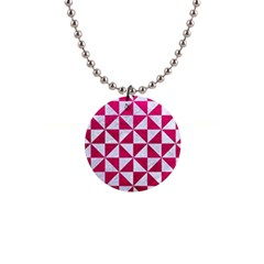 Triangle1 White Marble & Pink Leather Button Necklaces