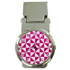 Triangle1 White Marble & Pink Leather Money Clip Watches