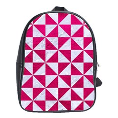 Triangle1 White Marble & Pink Leather School Bag (large)