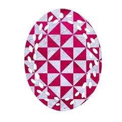 Triangle1 White Marble & Pink Leather Ornament (oval Filigree)