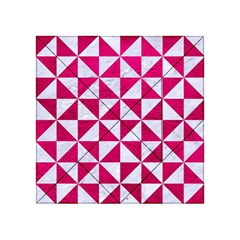 Triangle1 White Marble & Pink Leather Acrylic Tangram Puzzle (4  X 4 )