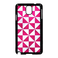 Triangle1 White Marble & Pink Leather Samsung Galaxy Note 3 Neo Hardshell Case (black)