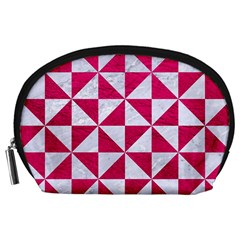 Triangle1 White Marble & Pink Leather Accessory Pouches (large)