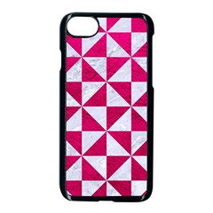 Triangle1 White Marble & Pink Leather Apple Iphone 7 Seamless Case (black) by trendistuff