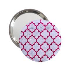 Tile1 White Marble & Pink Leather (r) 2 25  Handbag Mirrors