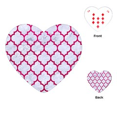 Tile1 White Marble & Pink Leather (r) Playing Cards (heart)