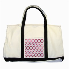 Tile1 White Marble & Pink Leather (r) Two Tone Tote Bag