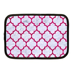 Tile1 White Marble & Pink Leather (r) Netbook Case (medium)