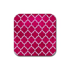 Tile1 White Marble & Pink Leather Rubber Square Coaster (4 Pack)  by trendistuff