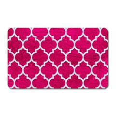 Tile1 White Marble & Pink Leather Magnet (rectangular)