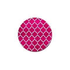 Tile1 White Marble & Pink Leather Golf Ball Marker (4 Pack)