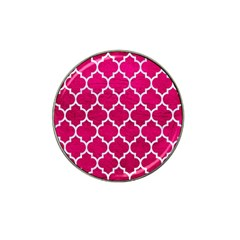 Tile1 White Marble & Pink Leather Hat Clip Ball Marker