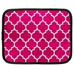 Tile1 White Marble & Pink Leather Netbook Case (large)