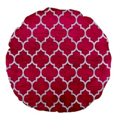 Tile1 White Marble & Pink Leather Large 18  Premium Flano Round Cushions