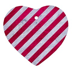 Stripes3 White Marble & Pink Leather (r) Ornament (heart)