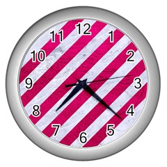 Stripes3 White Marble & Pink Leather (r) Wall Clocks (silver)