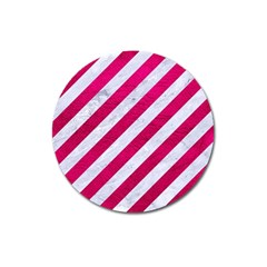 Stripes3 White Marble & Pink Leather (r) Magnet 3  (round)