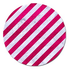 Stripes3 White Marble & Pink Leather (r) Magnet 5  (round)