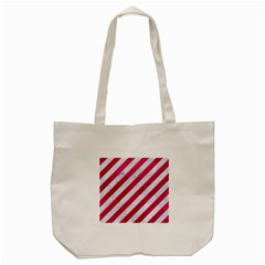 Stripes3 White Marble & Pink Leather (r) Tote Bag (cream)