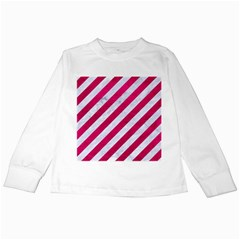Stripes3 White Marble & Pink Leather (r) Kids Long Sleeve T Shirts