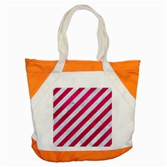 Stripes3 White Marble & Pink Leather (r) Accent Tote Bag