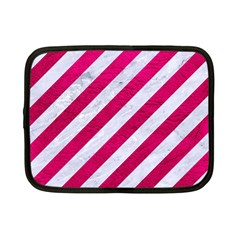 Stripes3 White Marble & Pink Leather (r) Netbook Case (small)