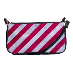 Stripes3 White Marble & Pink Leather (r) Shoulder Clutch Bags