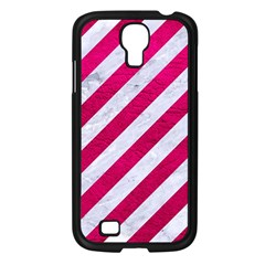 Stripes3 White Marble & Pink Leather (r) Samsung Galaxy S4 I9500/ I9505 Case (black)