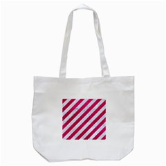Stripes3 White Marble & Pink Leather (r) Tote Bag (white)