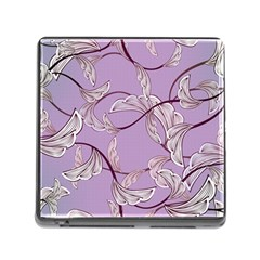 Floral Retro Pattern Blue Memory Card Reader (square)