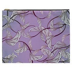 Floral Retro Pattern Blue Cosmetic Bag (xxxl)