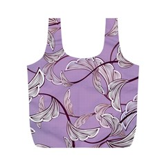 Floral Retro Pattern Blue Full Print Recycle Bags (m)