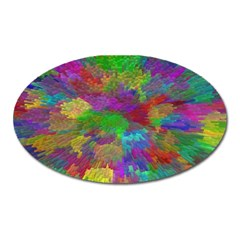 Colorful Patern Art Rainbow Oval Magnet by goodart
