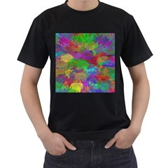 Colorful Patern Art Rainbow Men s T Shirt (black) (two Sided)