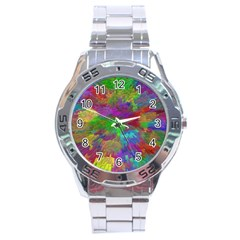 Colorful Patern Art Rainbow Stainless Steel Analogue Watch