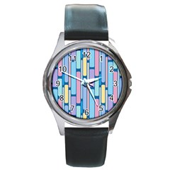 Retro Blocks Round Metal Watch