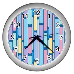 Retro Blocks Wall Clocks (silver)