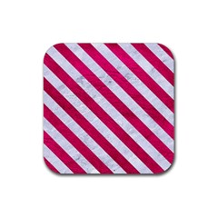 Stripes3 White Marble & Pink Leather Rubber Coaster (square)  by trendistuff