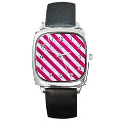 Stripes3 White Marble & Pink Leather Square Metal Watch