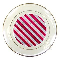 Stripes3 White Marble & Pink Leather Porcelain Plates