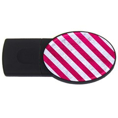 Stripes3 White Marble & Pink Leather Usb Flash Drive Oval (4 Gb)